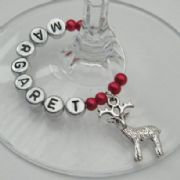 Traditional Reindeer Personalised Wine Glass Charm